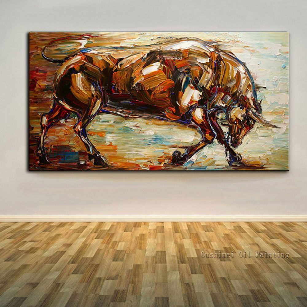 Skills Artist Hand-painted High Quality Abstract Animal Bull Oil Painting on Canvas Handmade Abstract Strong Bull Oil Painting