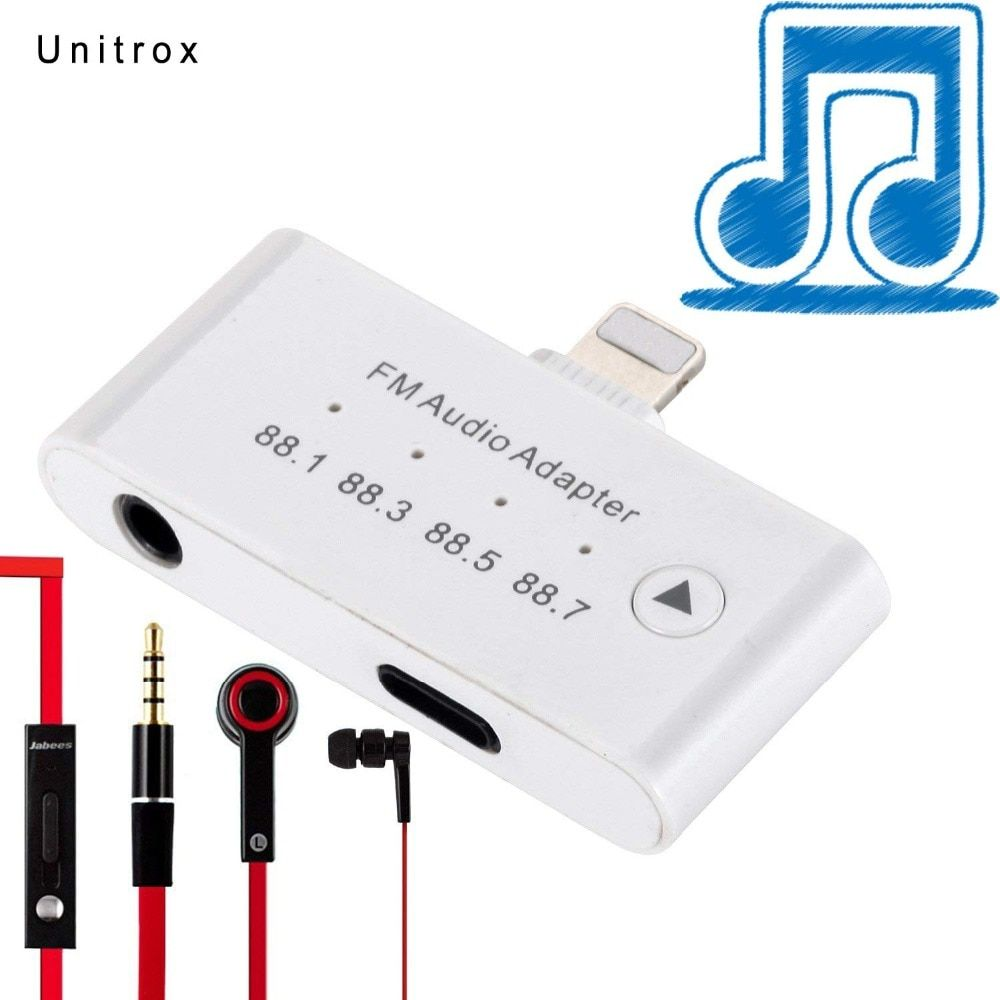 3 in 1 For Lightning to 3.5mm 8pin charger Famle Port FM Audio Adapter Plug & Play Aux Headphone for iPhone X 8 8Plus 6s 7 7plus