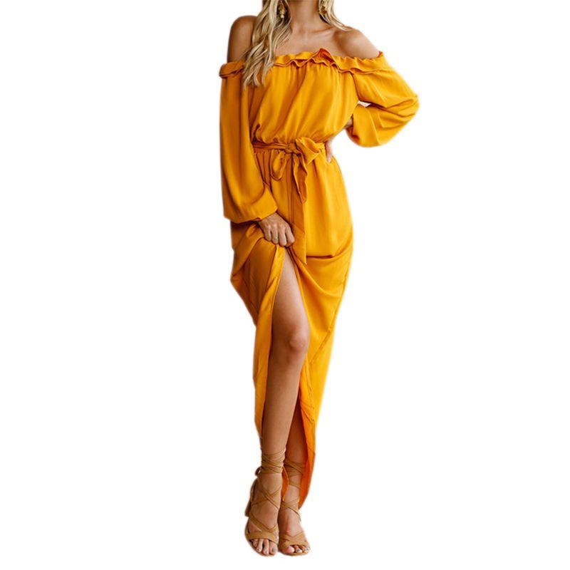 2018 Irregular Women Long Dress Slash Neck Maxi Dresses Autumn Female Off Shoulder Puff Sleeve Split Ruffles GV839
