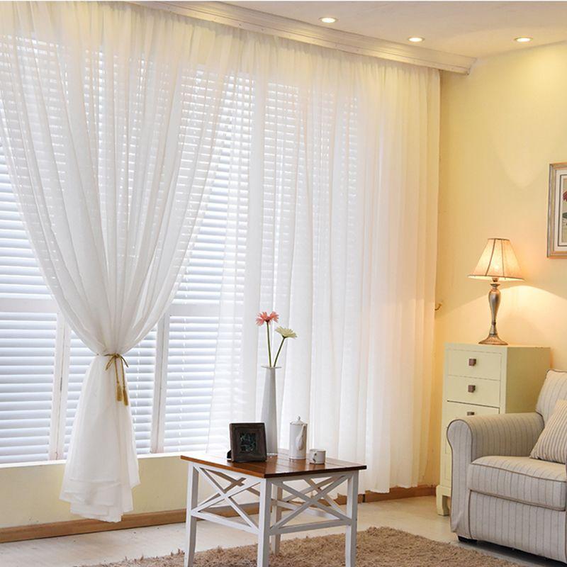 Organza rideaux pour salon solide couleurs pure maison moderne chambre décorations fenêtre Tulle Voile rideau panneau (B509)