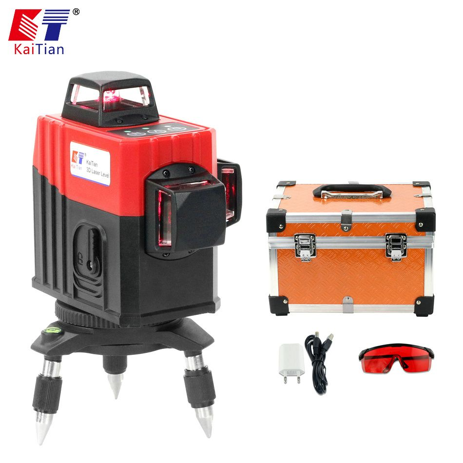 KaiTian 3D Laser Level 360 Rotary Nivel Laser 12 Lines 5 Lines Lazer Level Horizontal Vertical Building Tools Construction Tools