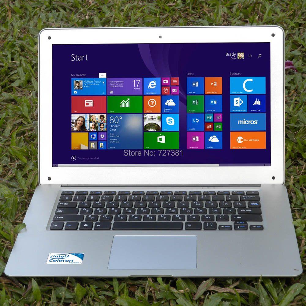 14 inch ultrabook slim laptop computer cpu Intel J1900 4Cores 8GB RAM 128GB SSD Windows 7 10 notebook Russian Spanish Keyboard