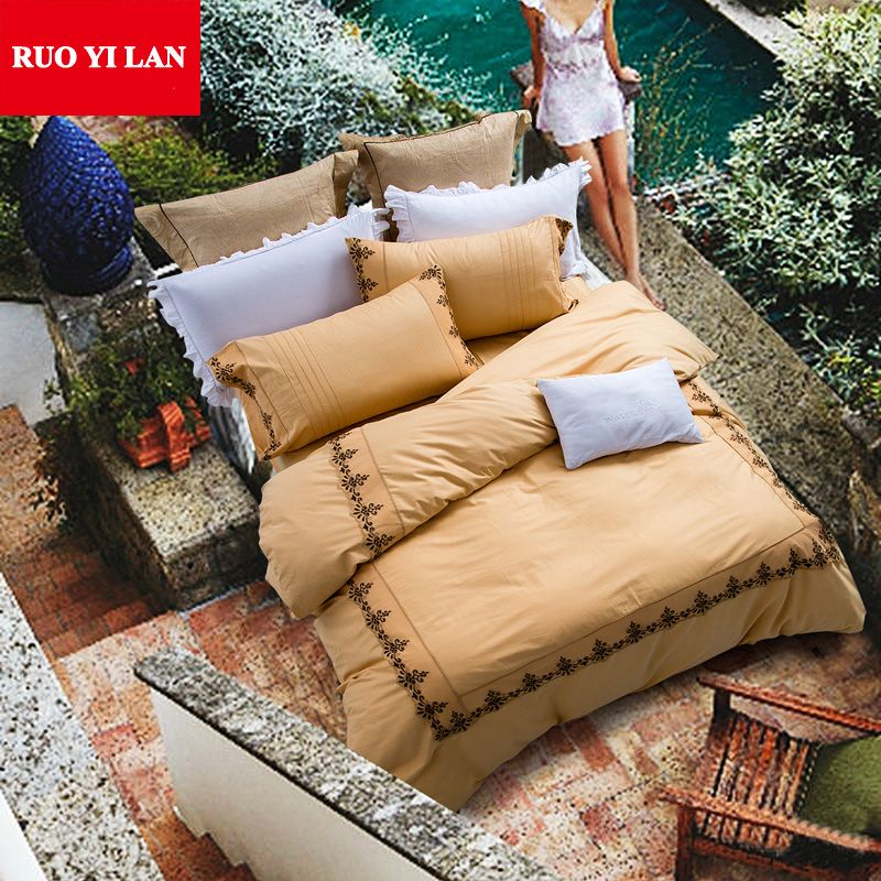 4/6/8pcs European Embroidery Washed Silk Bedding Cotton Bed Linen Bedclothes Queen King Duvet Cover Bed Sheet Pillowcase YL