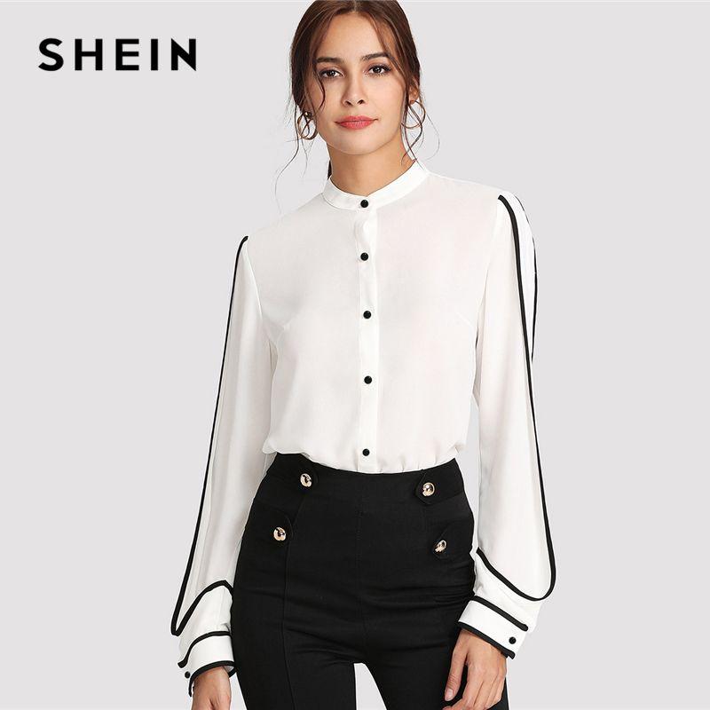SHEIN White Elegant <font><b>Stand</b></font> Collar Long Sleeve Button Black Striped Blouse Autumn Women Workwear Shirt Top