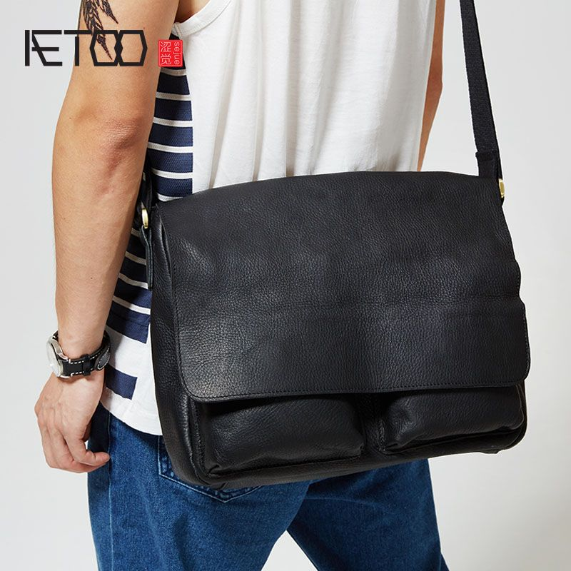 AETOO Der ursprünglichen männer Ledertasche herren leder handtasche lässige flip einzelner schulterbeutel querschnitt briefträger tasche