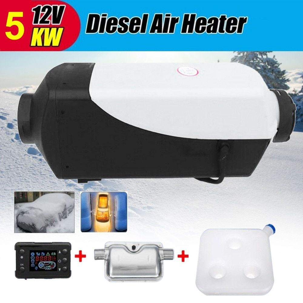 (Ship From DE)5KW 5000W 12V Air diesel Heater LCD Switch with Muffler For Cars Trucks Motor-homes Boats Bus Van
