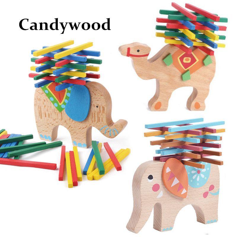 2018 New Elephant/Camel Balance Wood Toys for Children Wooden Blocks Toys Game For Children Educational Montessori toys boys
