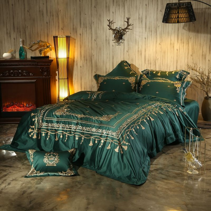 4/6Pcs Red Green Bohemia Luxury Embroidery Bedding Set 100S Egyptian Cotton Queen King size Duvet cover Bed sheet set Pillowcase