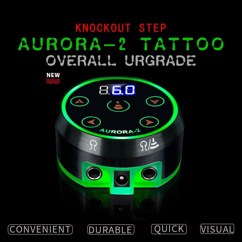 New Professional Mini Critical AURORA II LCD Tattoo Power Supply with Power Adaptor for Coil & Rotary Tattoo Machines