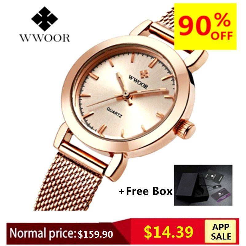 WWOOR Women Dress Watches Luxury Brand Ladies Quartz Watch Stainless Steel Mesh Band Casual Gold Bracelet Wristwatch reloj mujer