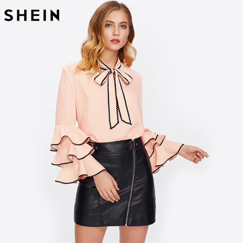 SHEIN Bow Neck Wave Lace Trim Layered Flare Sleeve Blouse Autumn Women's Top Pink Band Collar Long Sleeve Cute Blouse