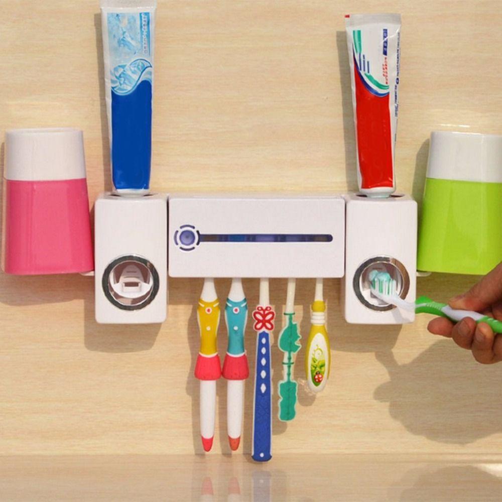 Pro Practical Antibacteria UV Light Ultraviolet Toothbrush Dispenser Sterilizer Bathroom Toothbrush Holder Cleaner With 2 Cups
