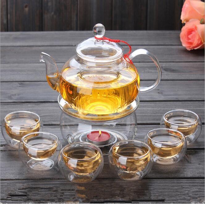 1 Set de thé Gaiwan avec 6 tasses 600 ml pot de thé en verre chaud Double paroi fabriqué en chine bouilloire cadeau