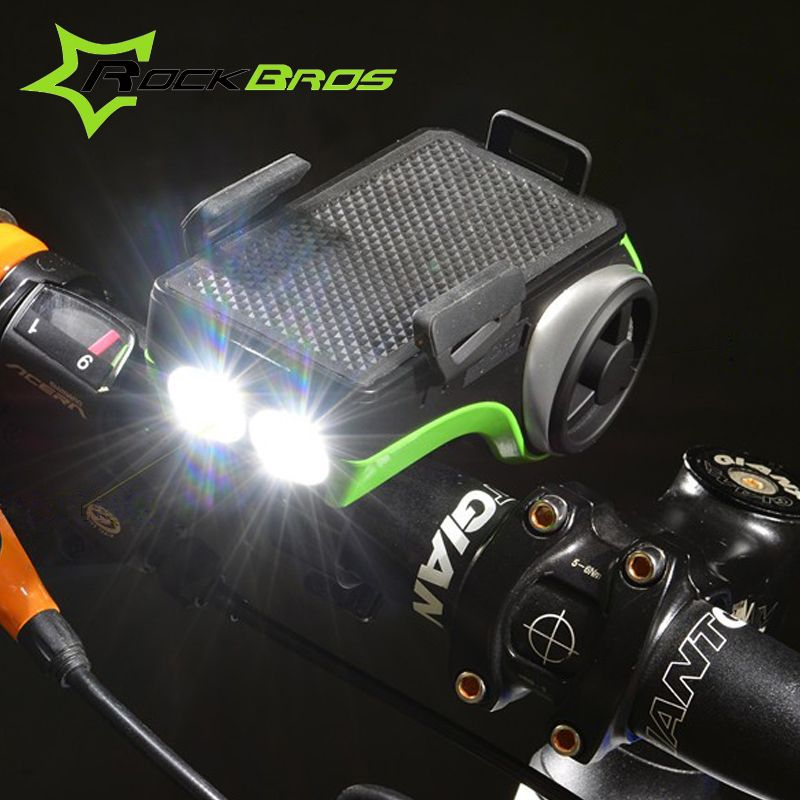 Rockbros Bike Light Music Player+Bluetooth+Double Bicycle LED Light+4400mAh Power Bank+Speaker+Phone Holder Bicycle Accessories