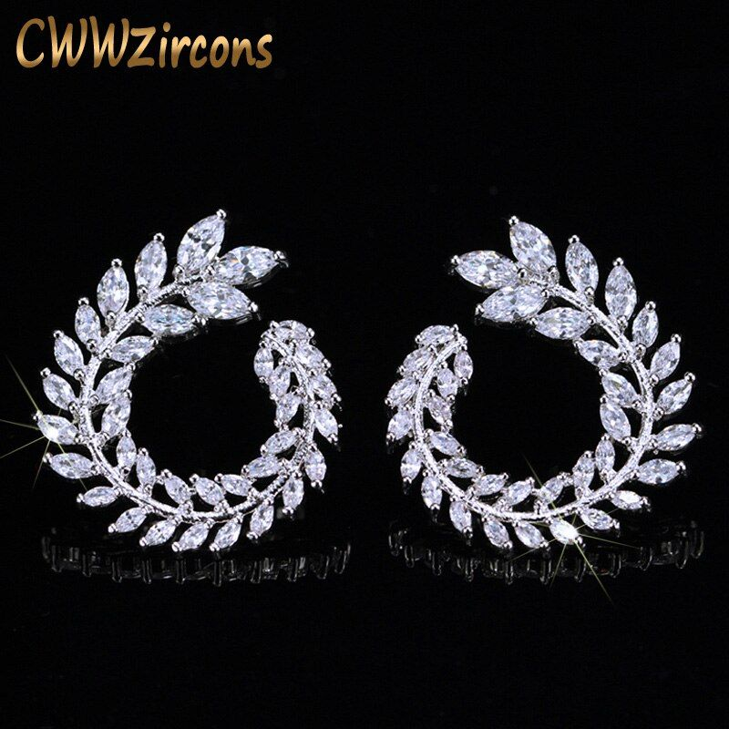 CWWZircons brillant branche d'olivier forme de feuille Marquise taille grand cubique zircone boucles d'oreilles pour les femmes marque de mode bijoux CZ363