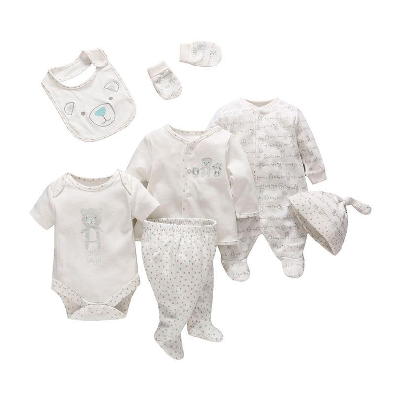 7 pièces/ensemble tendres bébés nouveau-né bébé fille garçon vêtements doux dessin animé coton bébé enfants vêtements ensemble confortable vêtements pour bébés
