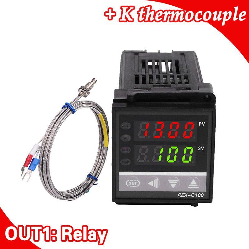 Double Numérique RKC PID Contrôleur de Température REX-C100 avec Capteur Thermocouple K, Sortie relais