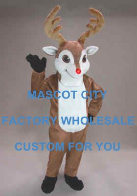 Winter Christmas Randolph Reindeer Mascot Costume Mascotte Mascota Outfit Suit Fancy Dress for Holiday Party Carnival SW636