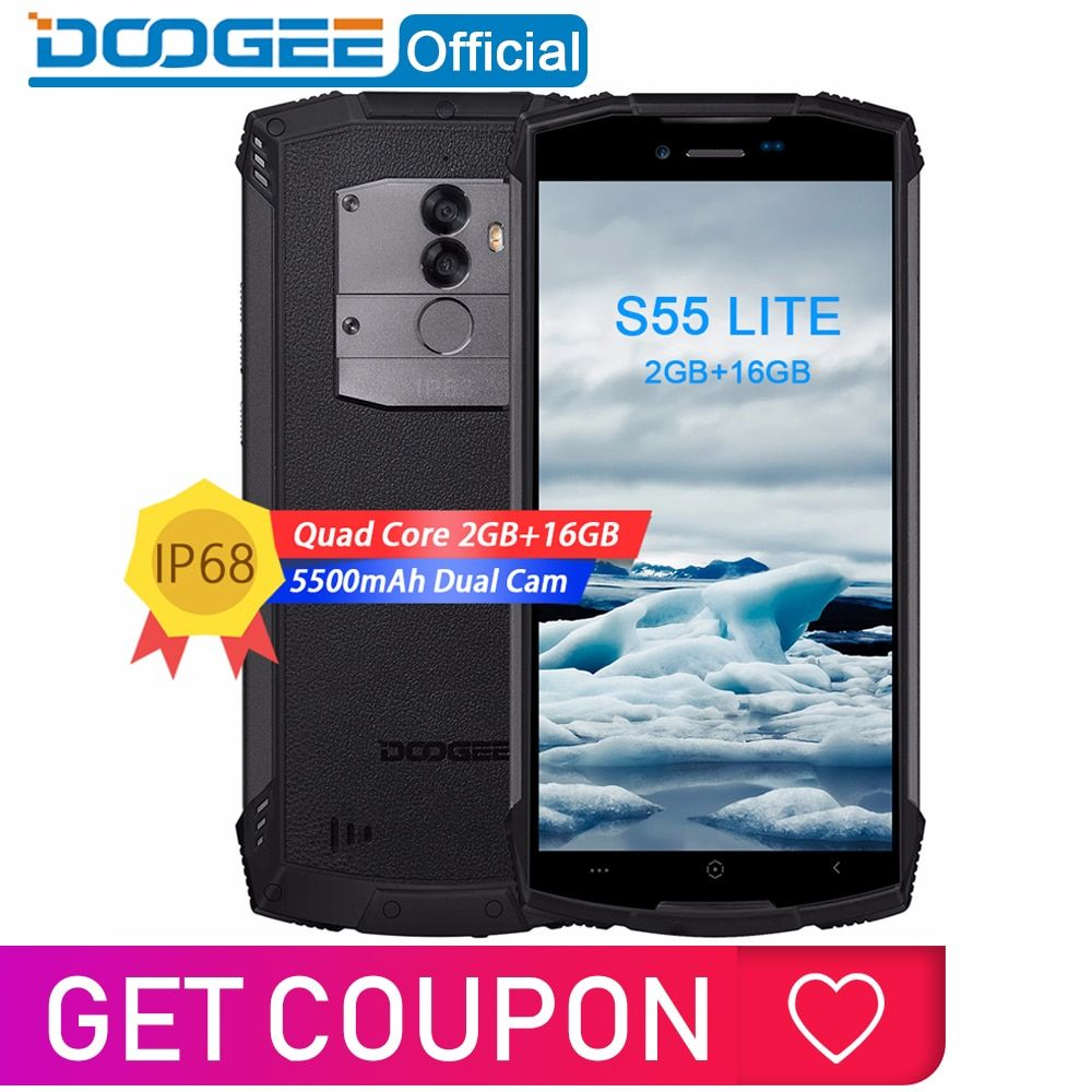 IP68 DOOGEE S55 Lite Smartphone étanche 2 GB RAM 16 GB ROM 5500 mAh MTK6739 double SIM double VoLTE 13.0MP Cam 5.5 pouces Android 8.1