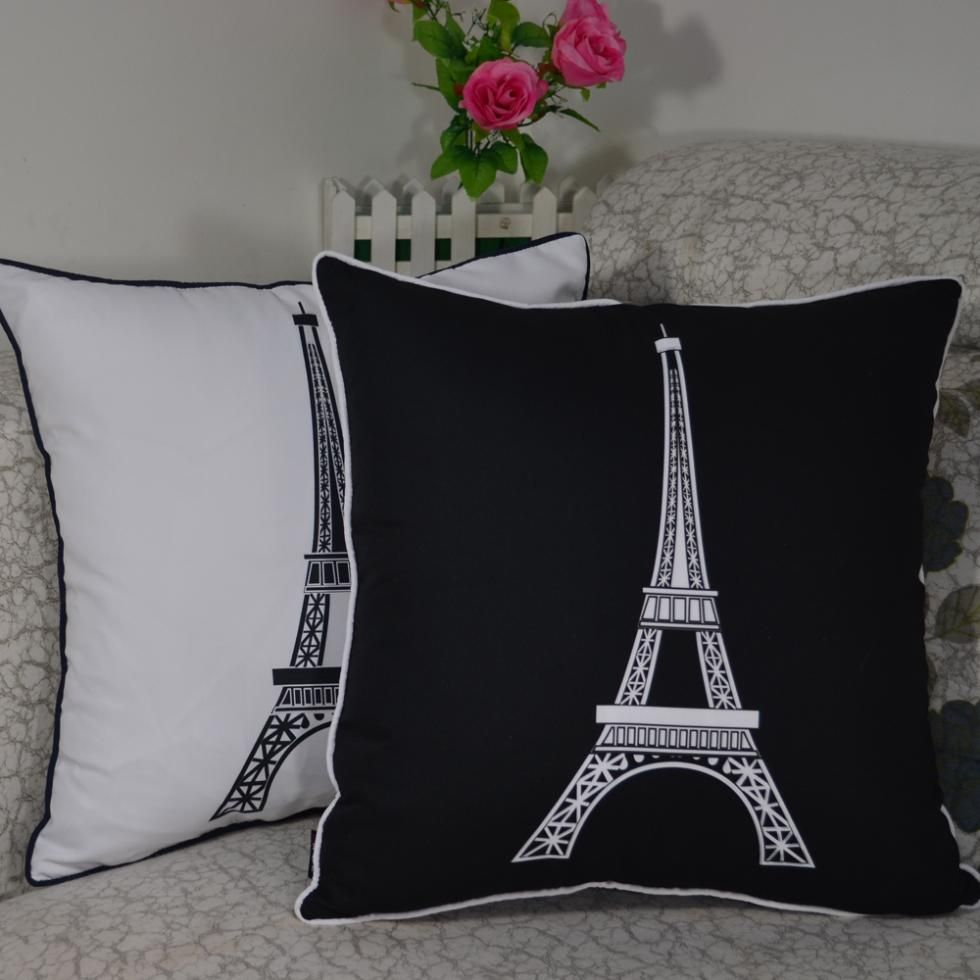 45*45 cm Dekorative Vintage Paris Eiffelturm Gedruckt Qualität Wurf Kissenbezug Kopfkissenbezug für Wohnkultur Sofa