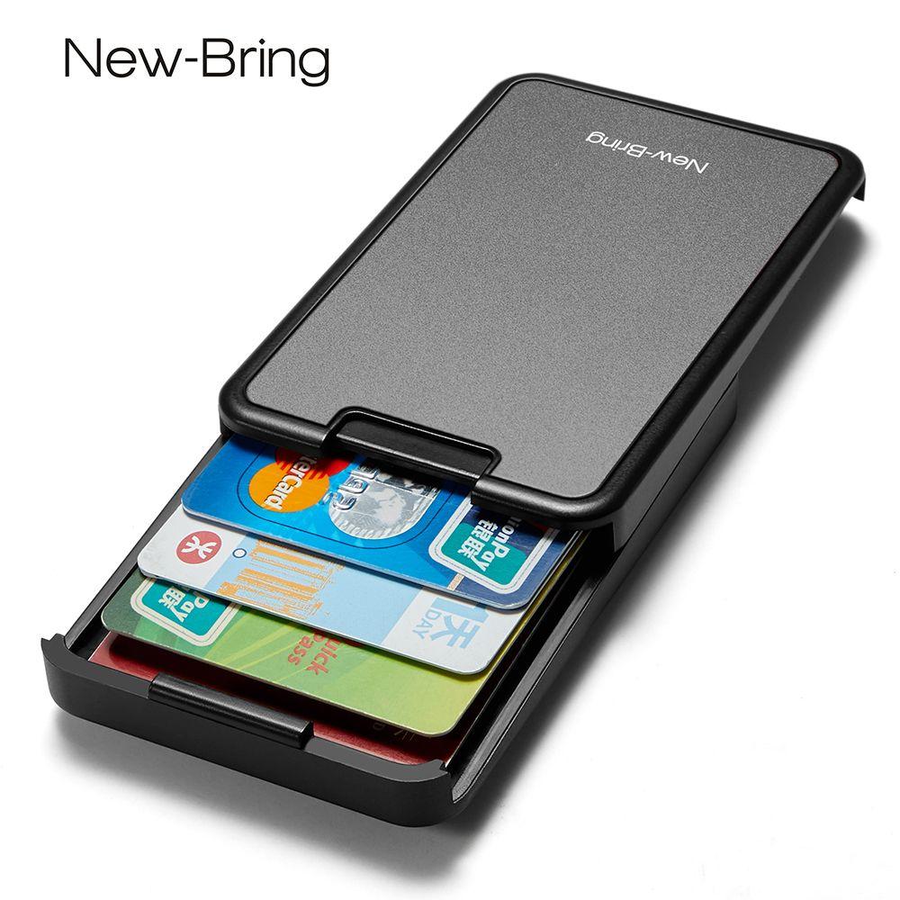 NewBring RFID Blocking Sliding Wallet Card Holder Plastic Card Money Purse Carbon Fiber For Men Women Male Female