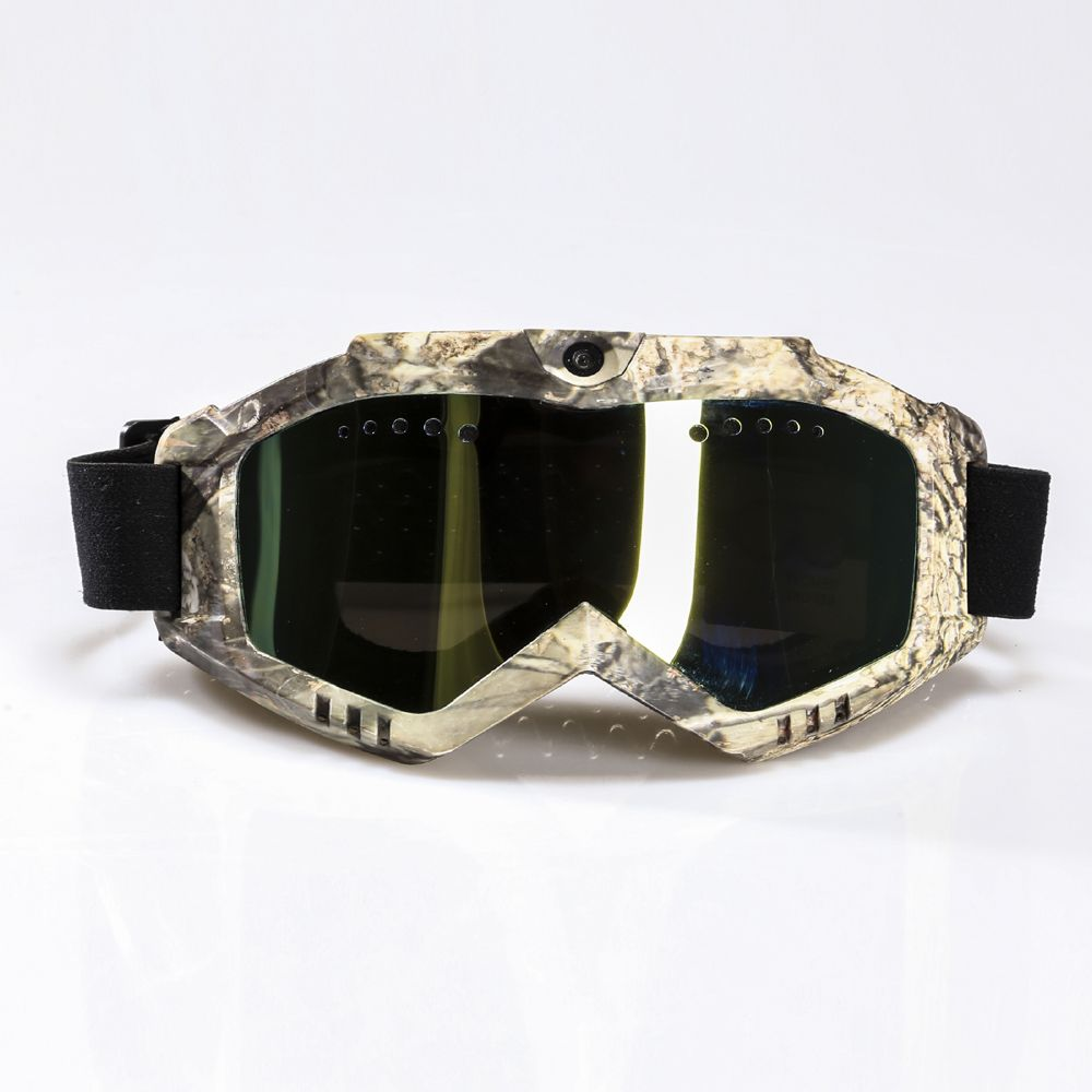 Ski-Sunglass Goggles with 1080P FHD Camera & Camouflage Frame & Black Double Anti-Fog Lens & Battery Built-in Without Nose Pad