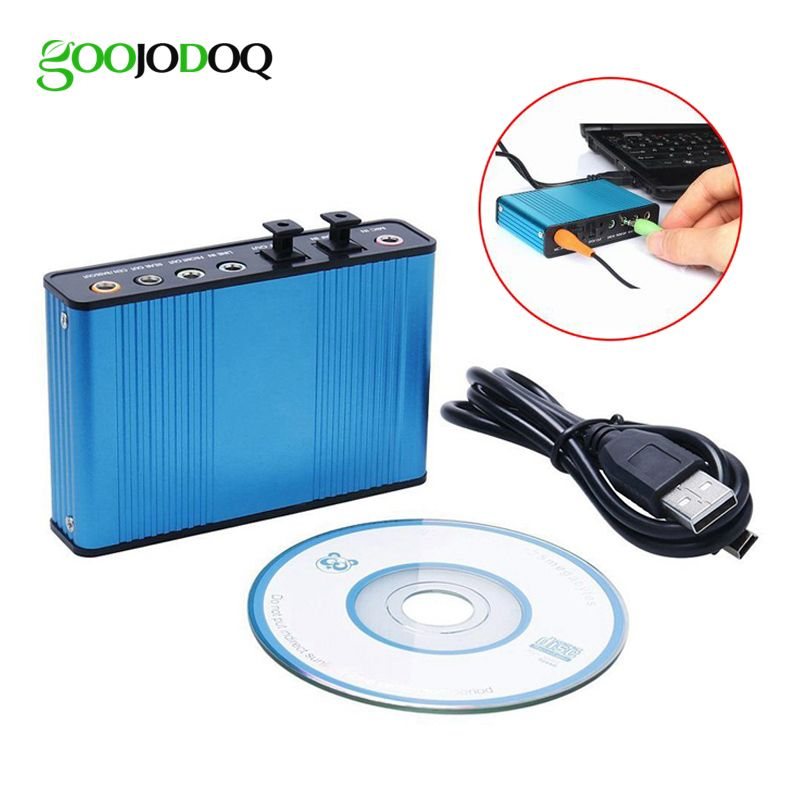 GOOJODOQ Professional USB Sound Card 6 Channel 5.1 Optical External Audio Card Converter CM6206 Chipset for Laptop Desktop