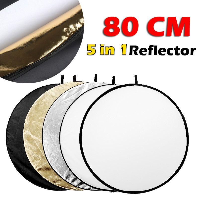 80 CM 31 5 en 1 réflecteur Fotografia rond Flash Photo Studio pliable lumière réflecteur or argent blanc noir translucide