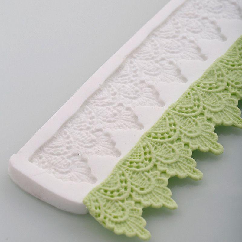 3D couronne dentelle tapis Silicone gâteau moules Fondant noël feuille bordure chocolat Confeitaria Cupcake accessoires de cuisine
