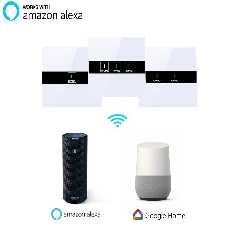 Work with Amazon Alexa  Smart Wi-Fi Switch Glass Panel 1gang 2gang 3gang EU Touch Light wall Switch  90~250V Ewelink app