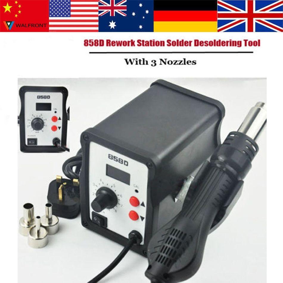 110V/220V Hot Air Gun 700W 858D+ ESD Soldering Station Digital Desoldering Station Iron Tool Solder Welding + 3 Air nozzles