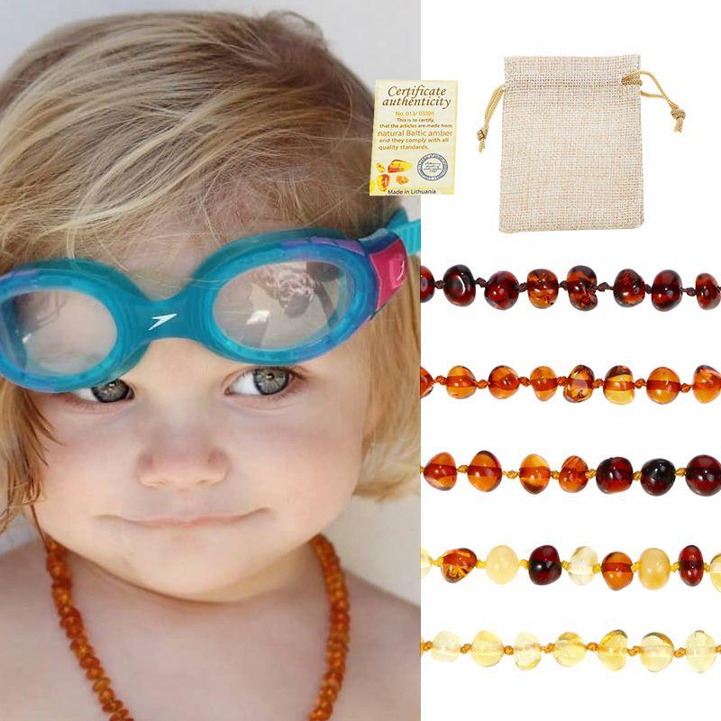 Bracelet/collier de dentition ambre classique 10 couleurs pour bébé adulte laboratoire testé authentique 8 tailles bijoux de femmes en pierre d'ambre naturelle