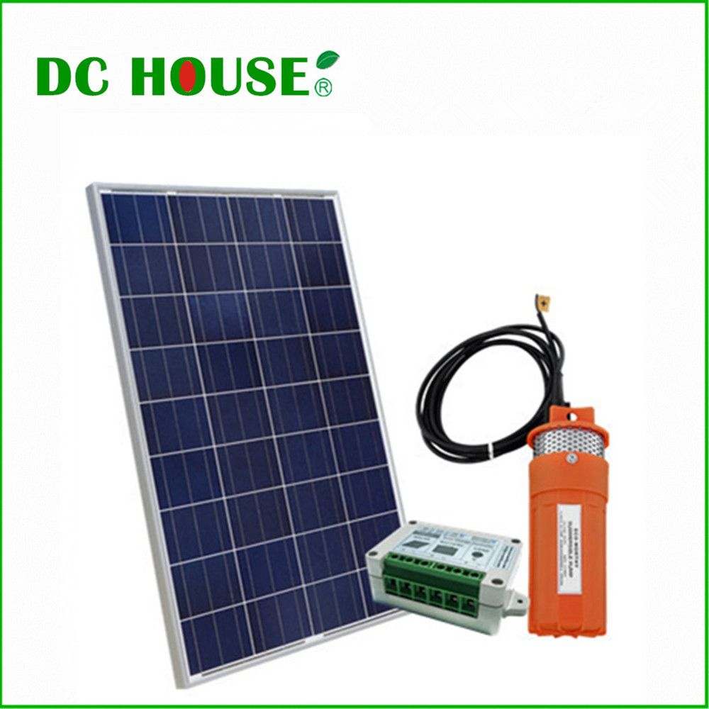 DC HOUSE Solar Powered Pump for Pond 100W Poly Solar Panel with 12V Submersible Well Pump & Mounting Kits for Water Fountain