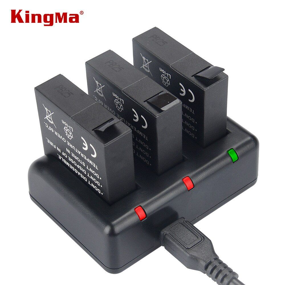 KingMa AZ16-1 Replacement Battery (3-Pack) and 3-Channel USB Charger for Xiaomi YI AZ16-1 and Xiaomi Yi 4K Action Camera