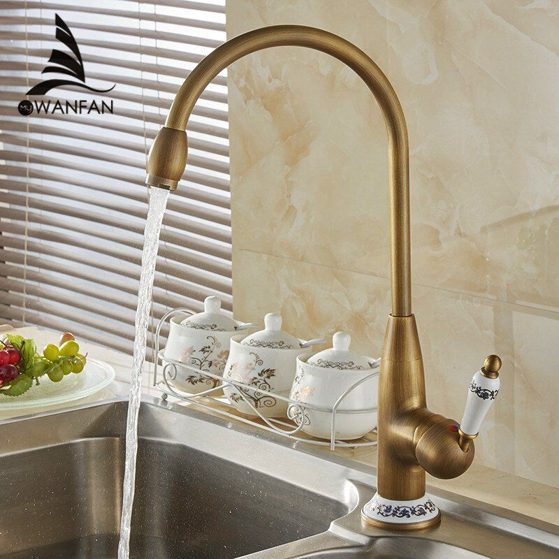 Kitchen Faucets Antique Bronze Kitchen Mixer Tap With Ceramic Crane Hot And Cold Kitchen Water Mixers Brass Sink Crane 4116F