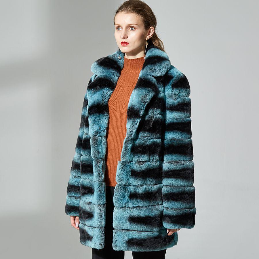 Echt rex kaninchen pelz mantel echt kaninchen pelz jacke lange hülse drehen-unten kragen Dicke Kaninchen Fell weiche warme mantel Kleidung frauen