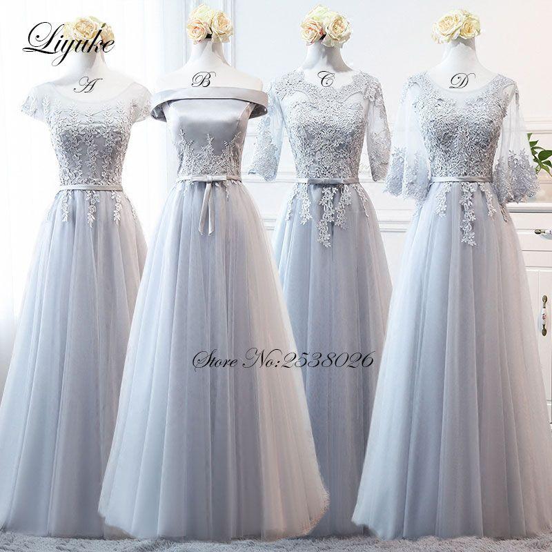 Liyuke hombro gasa largo vestido formal elegante simple Vestidos de dama de honor una línea