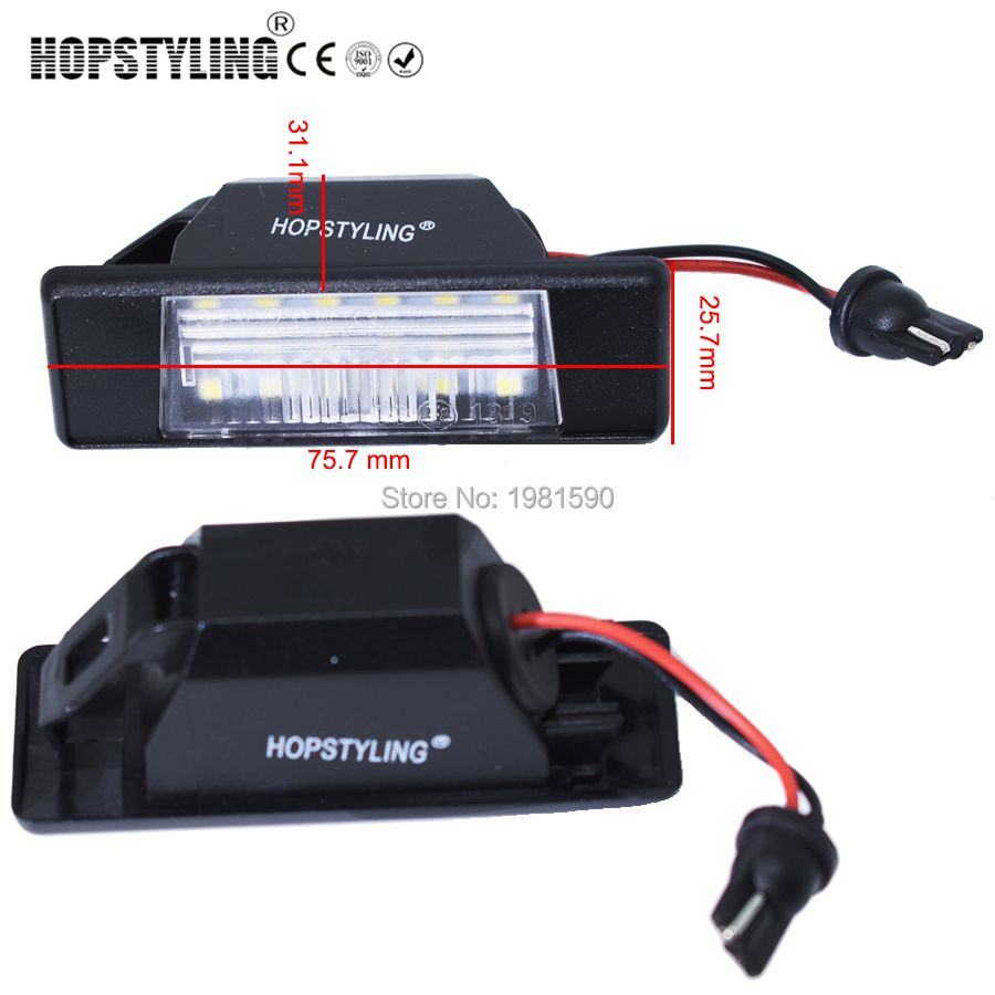 Hopstyling car led rear number plate light for Nissan X-trail Primera P12 Juke Qashqai Pathfinder R51 auto accessory