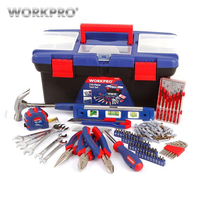 WORKPRO 170 PCS Outil Ménages Set avec Boîte En Plastique Portable Tool Set