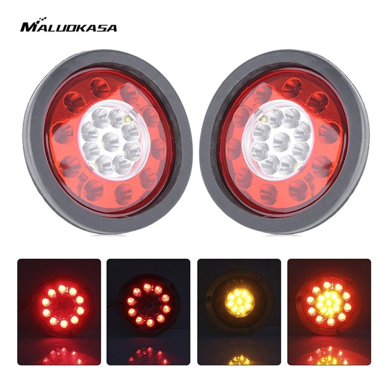 MALUOKASA 2x 4.3'' Round 19 LED Auto Brake Light Truck Trailer Lorry Turn Signal Tail Lamp Chrome Ring LED 12V Stop Light Bulb