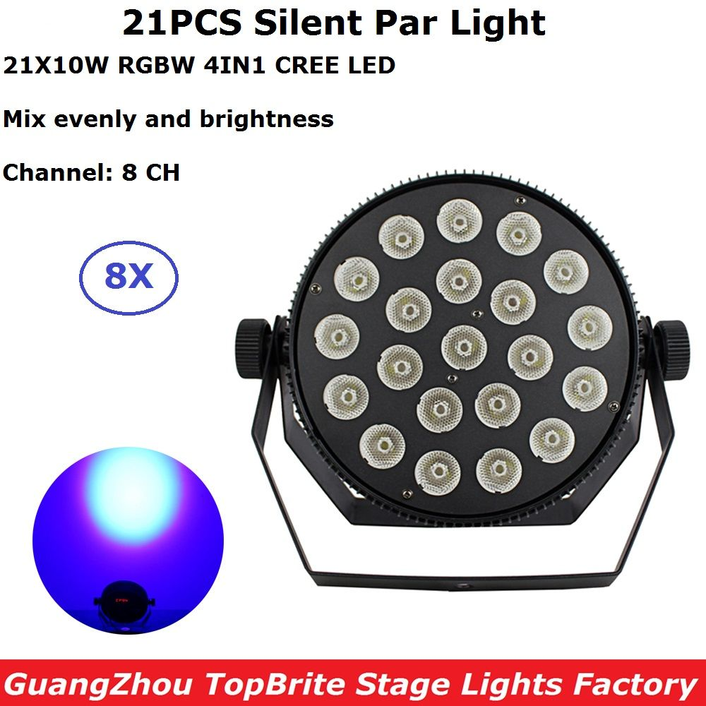 8XLot Portable Aluminum Shell Par 21X10W RGBW 4IN1 LED Flat Par Lights CREE LEDS 8CH Professional Stage Shows Equipments