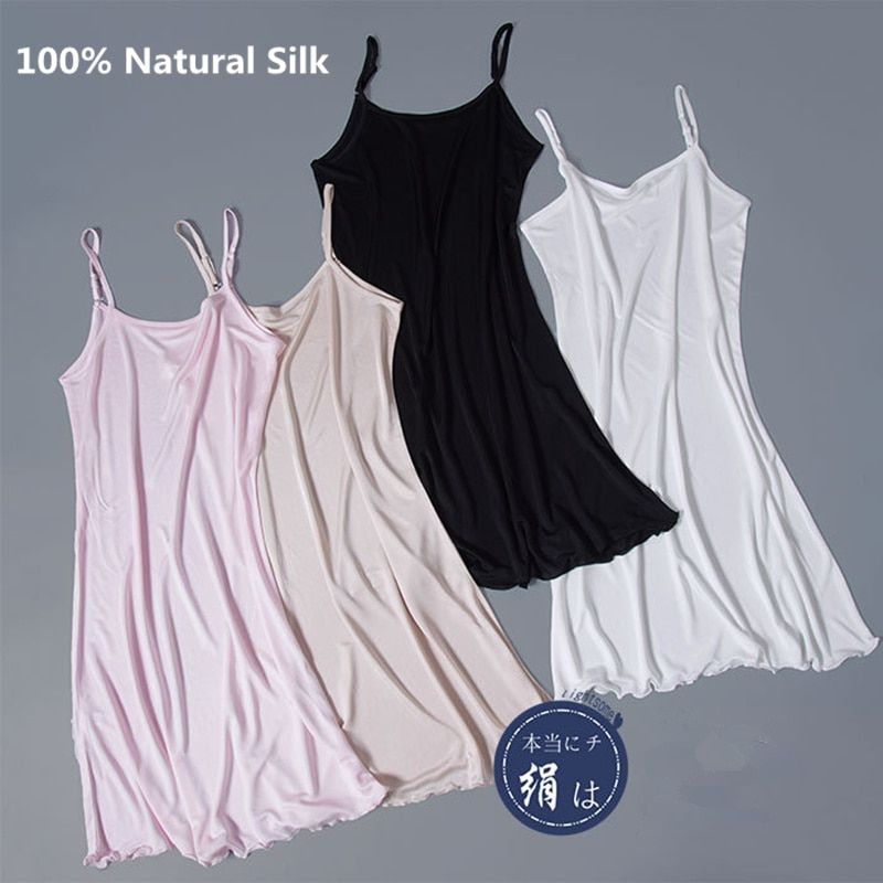 100% Pure Silk Women Petticoat Adjustable Straps Thin Black Underskirt Sexy Breathable Underdress Women Lingerier Nightdress