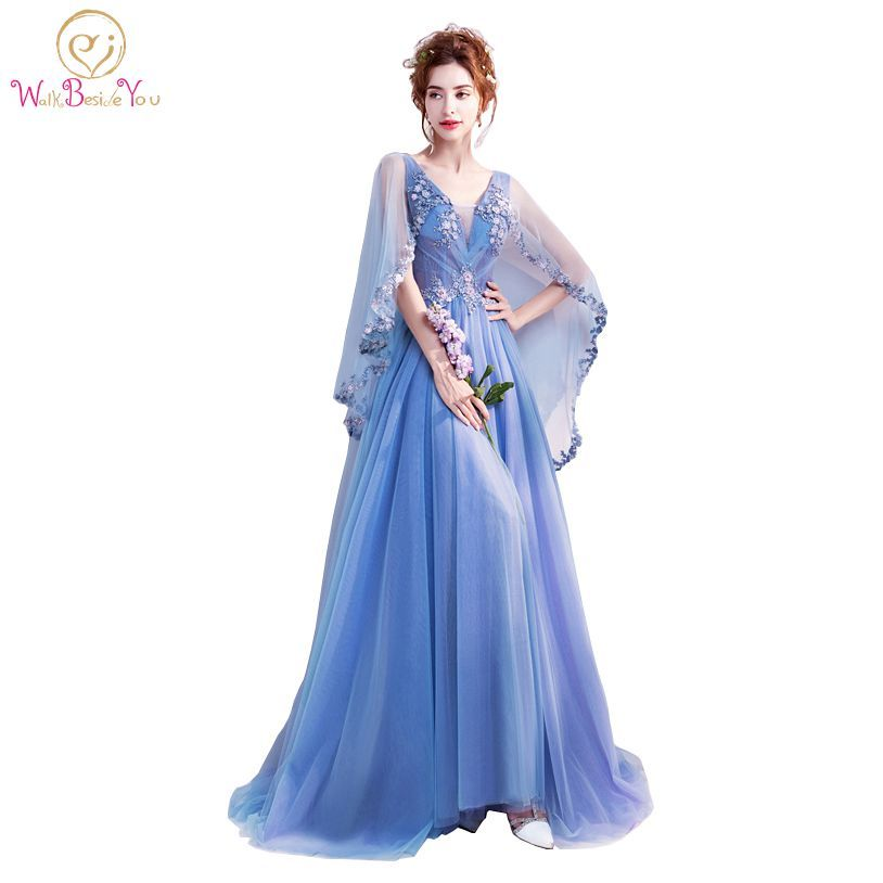 Walk Beside YOU Blue Prom Dresses with Wrap Flowing Lace Applique Beads Transparent Evening Party Gowns Long Dress Elegant 2018