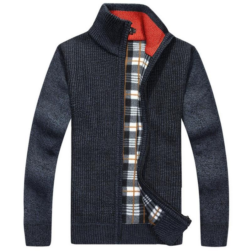 Marque Nouveau Chaud Épais Velours Cachemire Pull Hommes Pulls Zipper Mandarin Collar Homme Casual Vêtements Solide Tricots Manteau