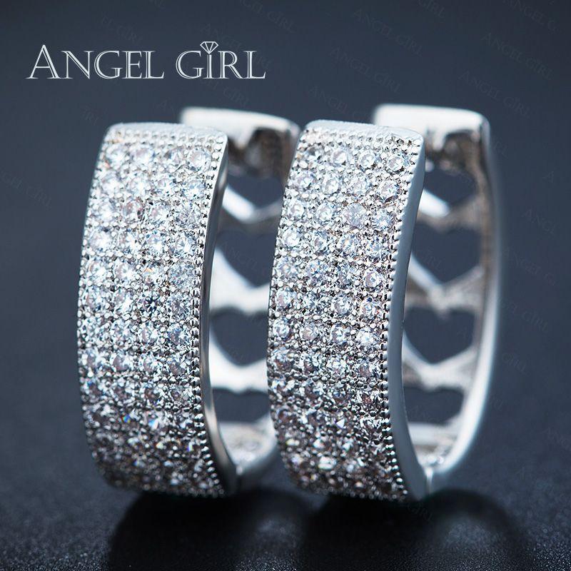 Angel Girl Hot Sell Fashion Cubic Zircon Earrings Charm AAA Austrian Crystal Paved Small hoop earrings for women E45-702143