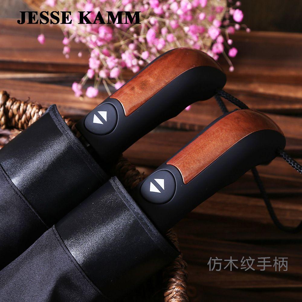 Mode noir entièrement automatique commerciale parapluie plus la taille 10 coupe-vent parapluie pliant soleil parapluie double