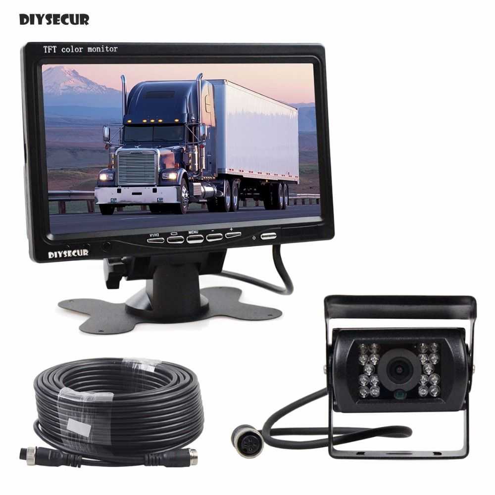 DIYSECUR DC 12V-24V 7 inch TFT LCD Car Monitor + 4pin IR Night Vision CCD Rear View Camera for Bus Houseboat Truck