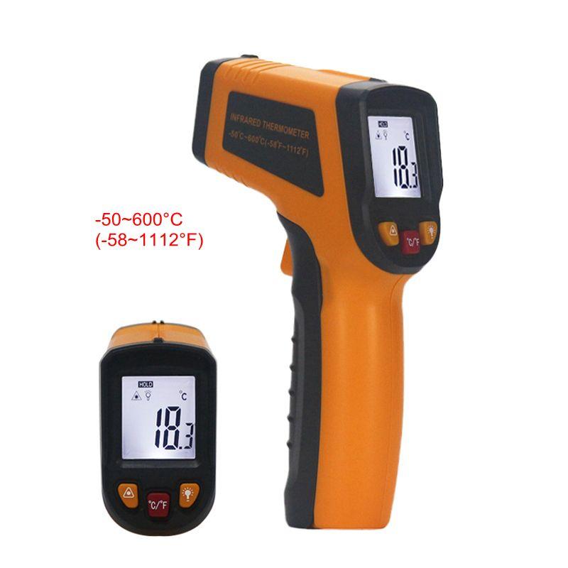 Thermomètre infrarouge IR sans contact-50 ~ 600C Celsius Portable numérique LCD pistolet température mètre avec rétro-éclairage remplacer GM550