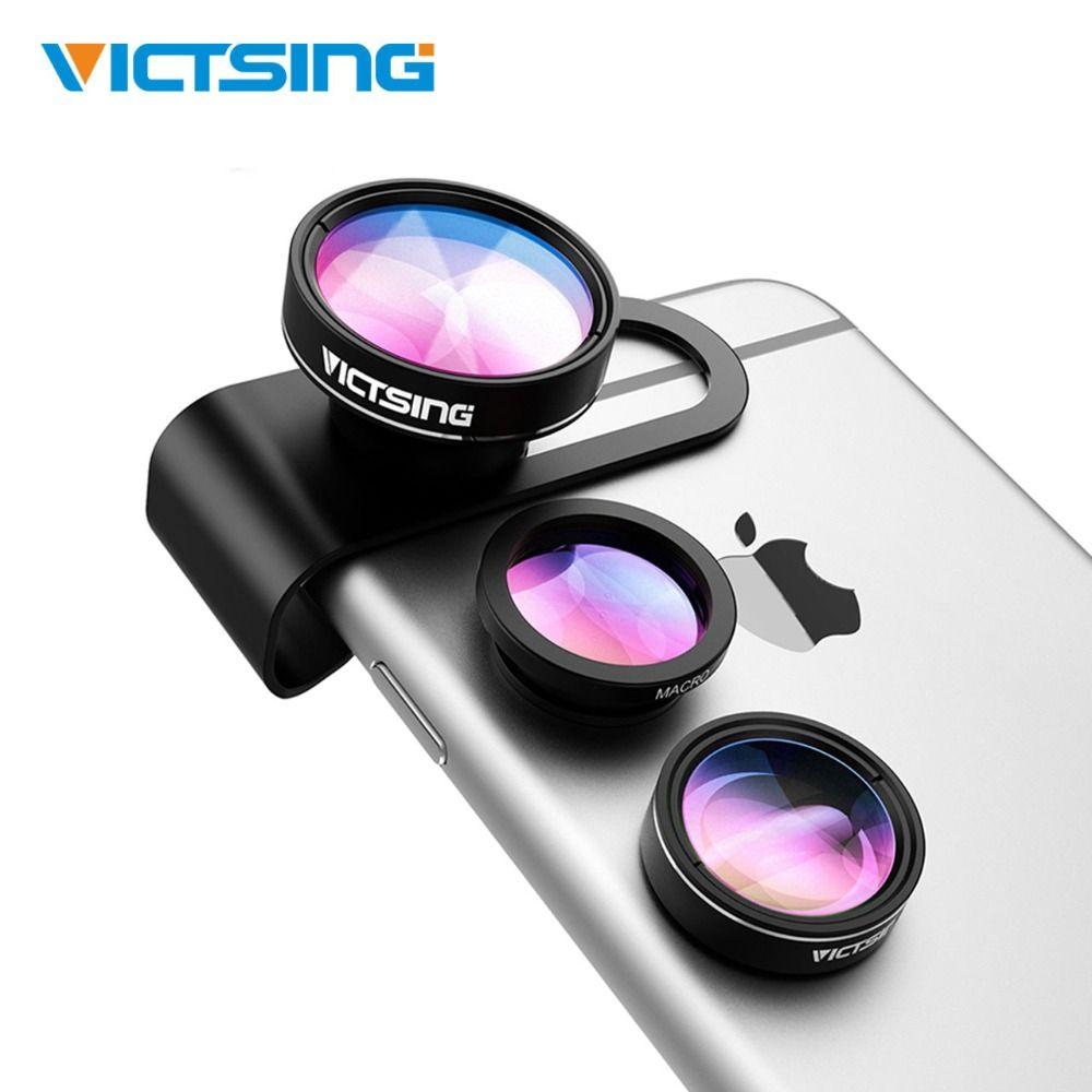 2019 VicTsing 3-en-1 Kit d'objectif de caméra de téléphone en aluminium Clip-On 180 degrés objectif Fisheye + 0.65X grand Angle + 10X objectif Macro pour iPhone