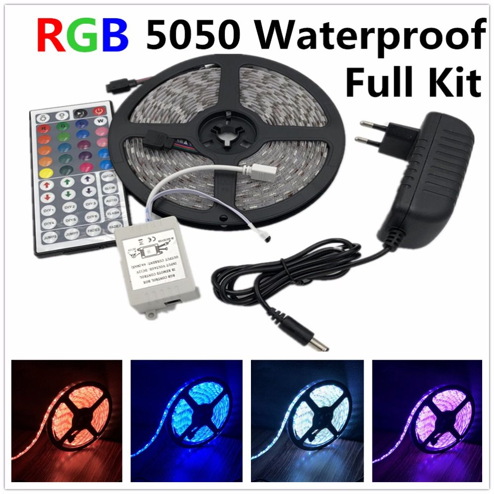 led strip light 5050 RGB tape set waterproof ip65 300led 5m with 44key remote controller 12V power supply adapter color <font><b>changing</b></font>